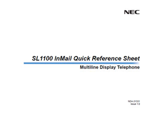 SL1100 InMail Quick Reference Sheet - Moore Enterprises Smart Communication for Small Businesses