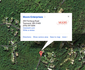 Moore Enterprises, 209 Fitchburg Road, Townsend, MA 01469, (978)597-0204