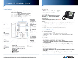 IPIPHONY Aastra 6757i Quick Reference Guide